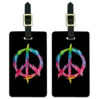 Tie Dye Peace Sign Luggage ID Tags Suitcase Carry-On Cards -