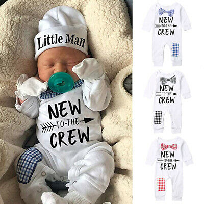Newborn Baby Boy Kid Cotton Romper+Hat Jumpsuit Clothes Long Pants Outfits Set