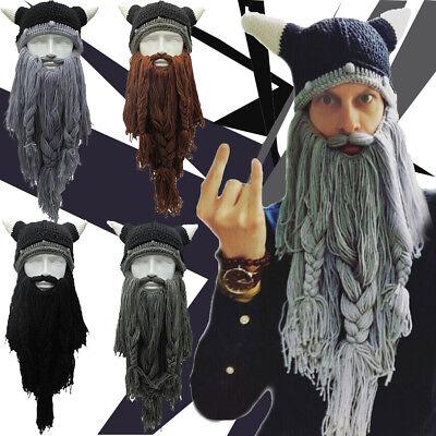 Christmas Knit Viking Beard Horn Hat Crazy Ski Cap Barbarian Vagabond Beanie - Crazy Christmas Hat