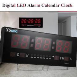 Hot Large Digital LED Alarm Calendar Clock Jumbo Display Snooze Wall Temperature