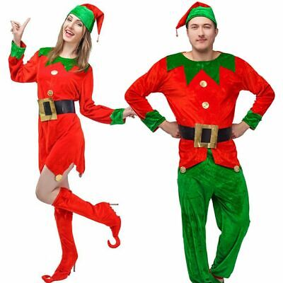 Adult Women Costumes (Elf Costume Adult Christmas Fancy Dress Womens Mens Elves Xmas Santa's Helper)