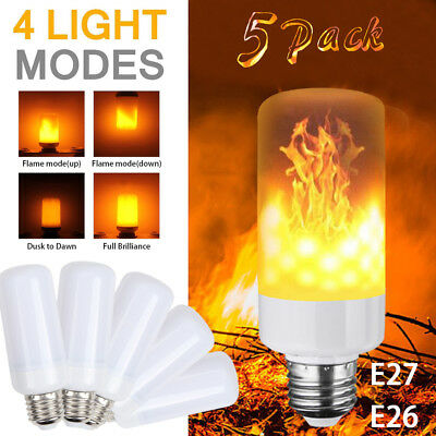 (5 Pack LED Flame Effect Simulated Nature Fire Light Bulb E27 5W Decoration Lamp)
