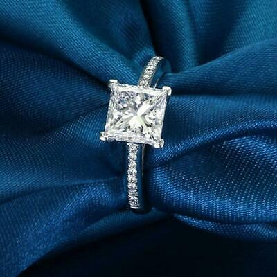 Handmade Princess Cut 1ct Engagement CZ 925 Silver Wedding Band Ring 1ct Cz Engagement Ring