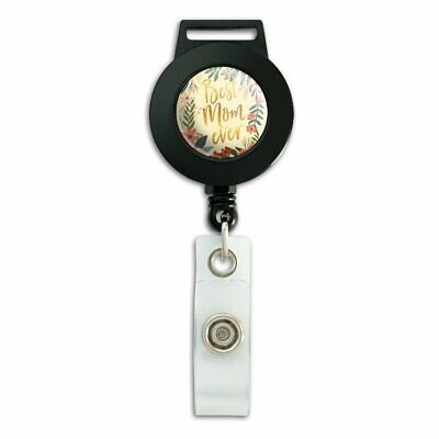 Best Mom Ever Pretty Flowers Mother's Day Lanyard Reel Badge ID Card