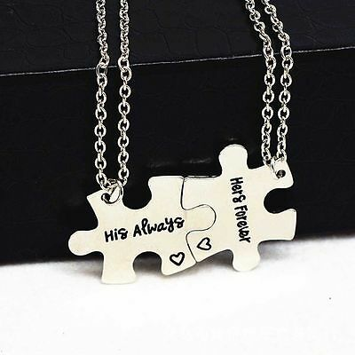 2pc Couple Puzzle Piece Matching Necklace Set His Always Hers Forever Connecting (Puzzle Piece Necklace Set)