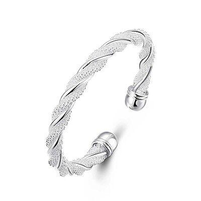 HOT Women 925 Silver Plated Twist Cuff Bangle Bracelet Wristband Bling Jewelry U