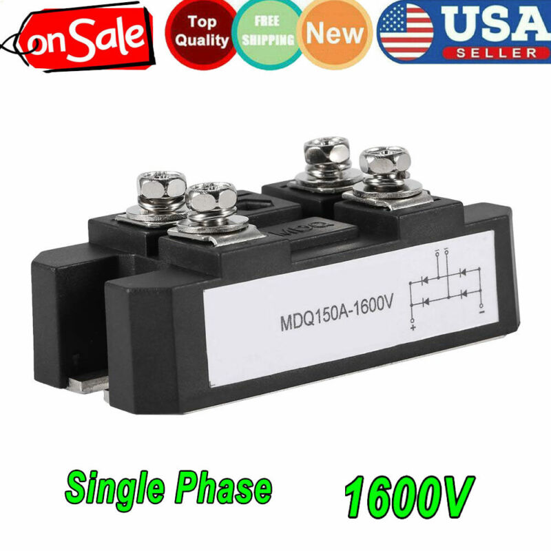 US 4 Terminals Single-Phase Diode Bridge Rectifier MDQ 150A Amp High Power 1600V