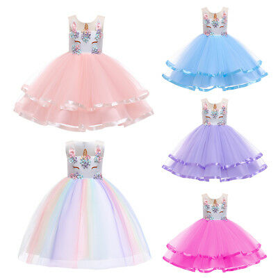 Birthday Unicorn Dress Layers Tutu Fancy Costume Flower Girls Dresses for - Dresses For Girls Fancy