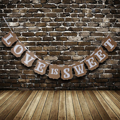 Rustic LOVE IS SWEET Party Sign Wedding Bunting Banner Decoration Decor Cut