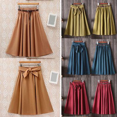 Vintage Midi Skirt Summer Women's Casual High Waist Pleated A-line School Dress