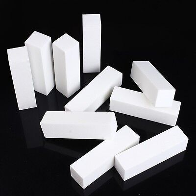White 10pcs Buffer Buffing Block Pedicure Sanding Manicure Nail Art Tips Tool