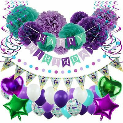Mermaid Party Supplies (Little Mermaid Party Supplies & Decorations Set - Under the Sea Party Kit 53)