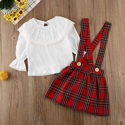 Newborn Toddler Baby Girls Lace Top T-shirt +Plaid Tutu Skirt Outfit Clothes Set
