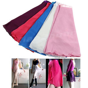 Women-Girl-Chiffon-Dancewear-Ballet-Tutu-Dance-Skirt-Skate-Wrap-Scarf-5Color