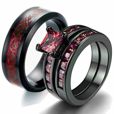 His Stainless Steel and Her Black Gold cz red engagement wedding ring set - Red And Gold Wedding