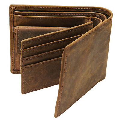Genuine Leather Short (New Men Genuine Leather Bifold Brown Vintage Coin Purse Short Card Holder)