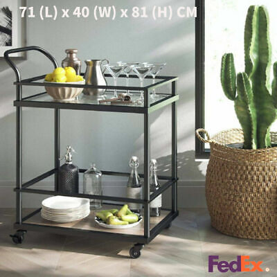 Bar Rolling Serving Cart Kitchen Island Trolley Cart Dining Storage Shelf Stand