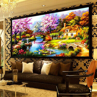 5D Diamond Painting Scenic Plant Flower House Landscape DIY Wall Decor Craft USA Crafts