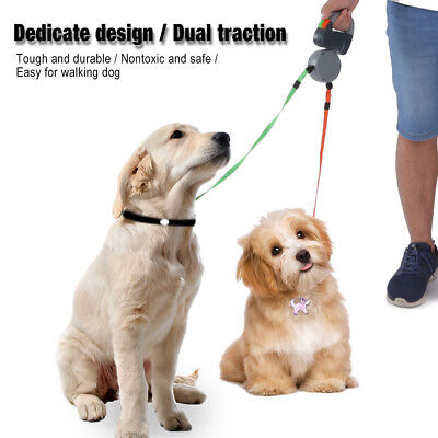 Dual Traction Rope Automatic Retractable Rope For Pet Dog Cat Puppy Walking Lead