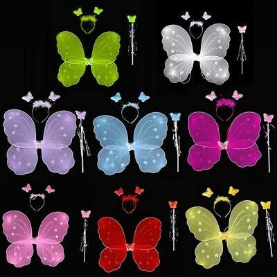 Weihnachten Kinder Mädchen Fee Flügel Schmetterling Dress Up Stirnband Kostüm - Fee Schmetterling Kinder Kostüm