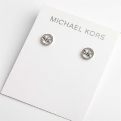 Michael Kors Silver Tone Logo Stud Earrings