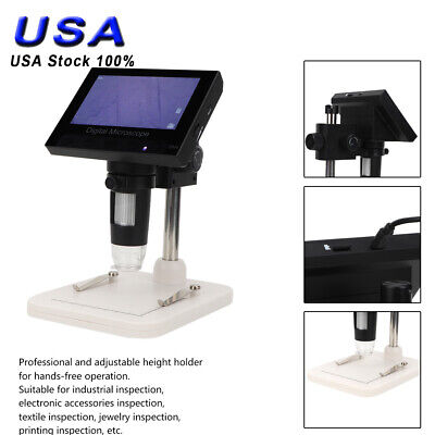 1000x Microscope 4.3 Lcd Display 5mp 720p 8 Led Digital Magnifier With Holder