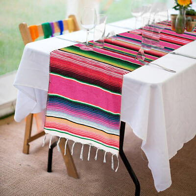 10pcs Mexican Serape Table Runner Rainbow Cotton Table Cover Fiesta Party -