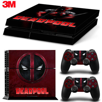 PS4 Playstation 4 Console Skin Decal Sticker DeadPool Comics Custom Design Set