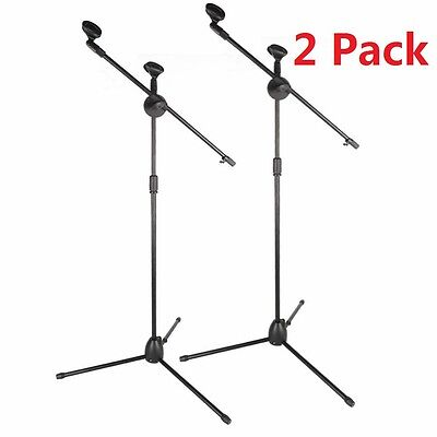 2 Pack Microphone Boom Telescoping Stand Tripod Holder Mic Clip Arm Studio Stage ()