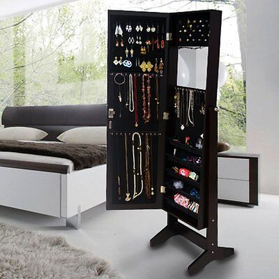 Wall Mount Mirrored Jewelry Cabinet Armoire Storage Box with Lock Rings,Brown