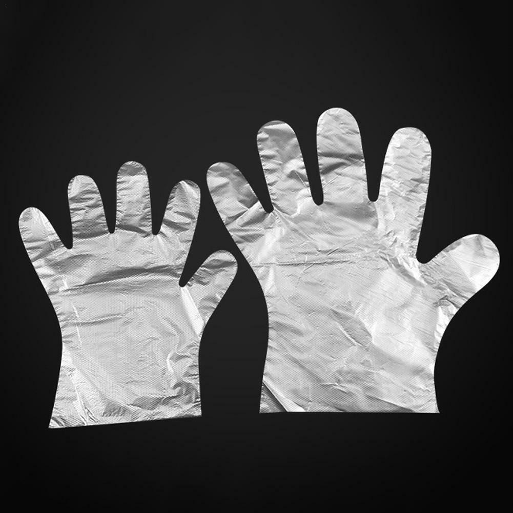 100pcs Disposable Gloves Food-grade Thick PE Film Plastic Fo