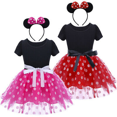 Mickey Minnie Mouse Ear Headband Polka Dots Dress For Toddler Baby Kid Girls