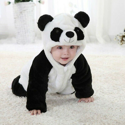 Baby Costume Panda (Baby Boy Girl Panda Costume Newborn Infant Toddler Warm Jumpsuit Romper)