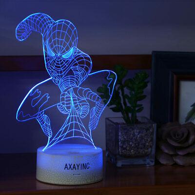 Super Hero Spider Man  LED Night Light Table Desk Lamp 3D Xmas Christmas gift