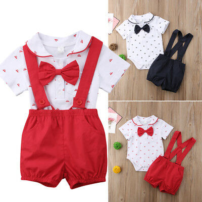 Infant Baby Boy Wedding Formal Suit Bowtie Gentleman Romper Outfit 0-24M Newborn](Baby Boy Wedding Suits)