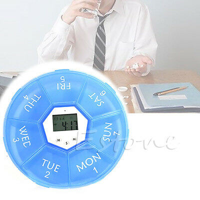 Pill Reminder Alarm - Weekly Digital Timer Round 7 Days Pill Box Case Alarm Clock Reminder Medicine