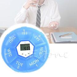 Weekly Digital Timer Round 7 Days Pill Box Case Alarm Clock Reminder Medicine