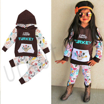 Newest Infant Baby Girls Clothes Hooded Tops Long Pants Thanksgiving Outfits Set - Infant Thanksgiving