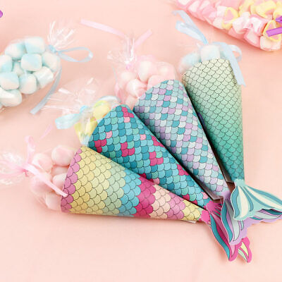 12xLittle Mermaid Birthday Party Candy Gift Bag Mermaid themed Baby Shower Decor