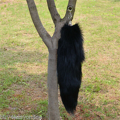 Large Black Real Fox Cosplay Tail Fur Tassel Bag Tag Accessory keyring US stock