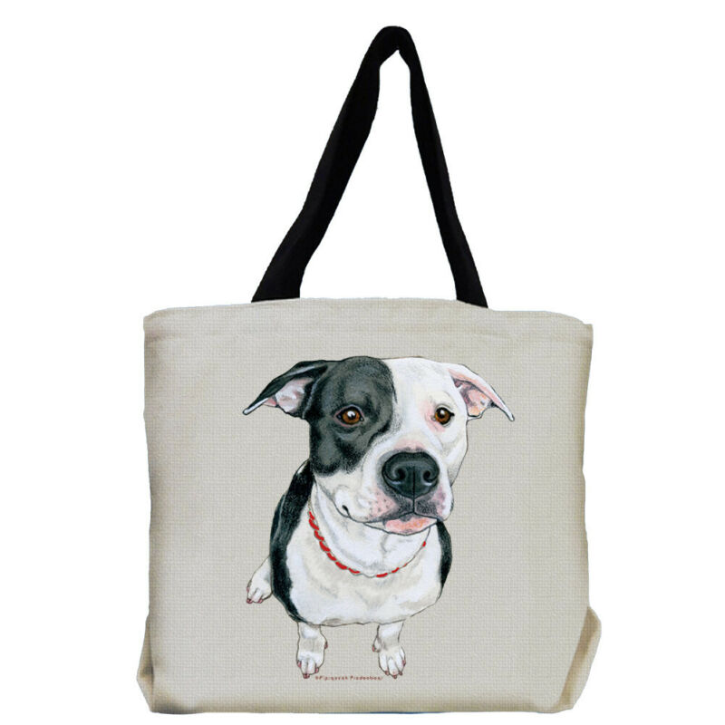 Pit Bull Black and White Pit Bull Dog Tote Bag