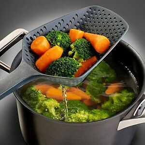 New Scoop Colander Strainer New Large Spoon Food Strain Drain Pasta Basket Black