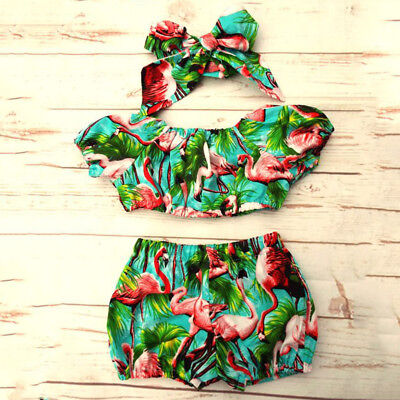 US Newborn Baby Girl Flamingo Clothes Off Shoulder Tops Shorts 3Pcs Outfit Set - Flamingo Girl