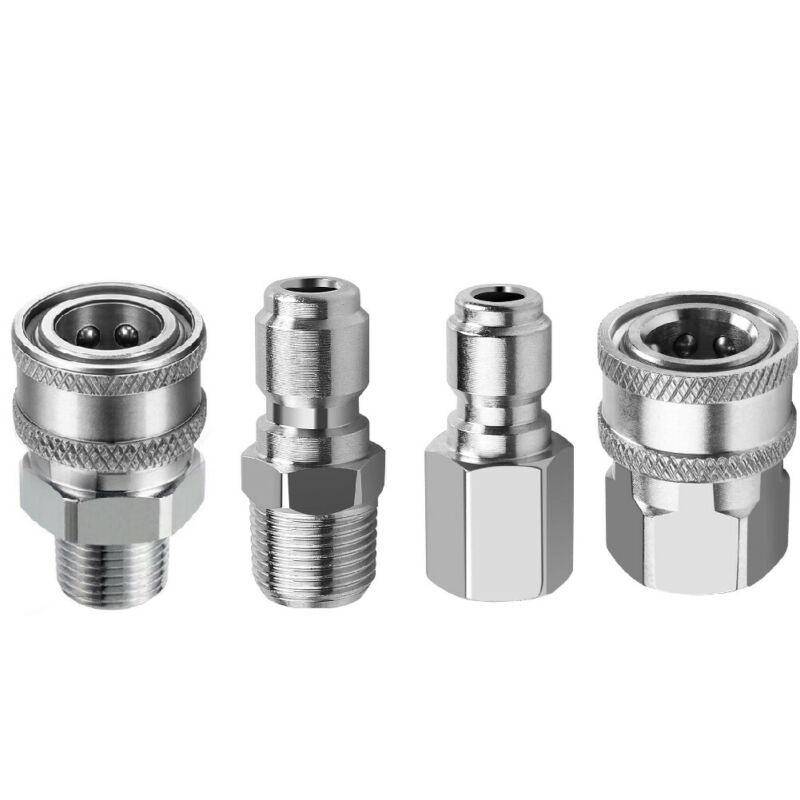 """3/8"""" Stainless Steel Male and Female Quick Connector Kit Pressure Washer Adapter"""