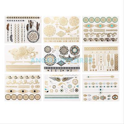 9Pcs Temporary Disposable Metallic Tattoo Gold Silver Black Flash Body Stickers on Rummage