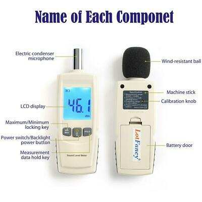 Digital Noise Sound Tester Level Meter Measurement 30-130db With Lcd Display