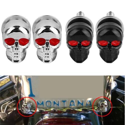4pcs Skull Motor Vehicle/'s License Plate Caps Tag Fastener Decorative Screws