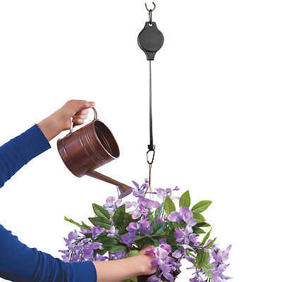 Hanging Plant Pulleys - Set Of 2, Black, by Collections Etc