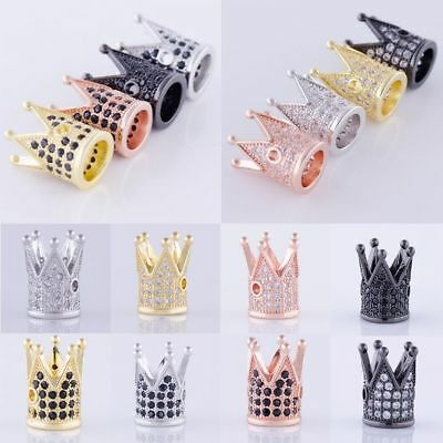 Black Clear Cubic Zirconia Pave King Crown Bracelet Connector Charm Beads In USA