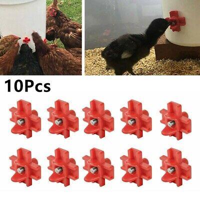 10automatic Cups Water Feeder Drinker Chicken Waterer Poultry Chook Bird